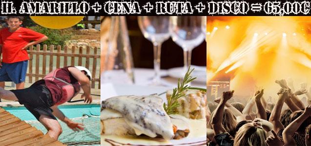 Humor Amarillo, cena, ruta de locales y discoteca